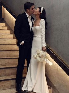 Elegant Retro Mermaid Square Neck Long Sleeves Soft Satin Wedding Dresses, Church Wedding Dresses
