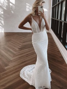 Gorgeous Luxury Mermaid V Neck White Sequins Long Wedding Dresses with Train
