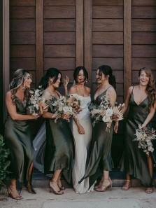 Freedom Mermaid V Neck Spaghetti Straps Dark Green Silk Satin Tea Length Bridesmaid Dresses