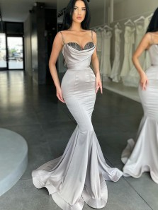 Mermaid Sweetheart Spaghetti Straps Silver Satin Long Prom Dresses with Beading, Evening Party Dresses