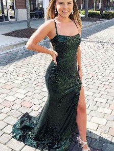 Sparkly Mermaid Spaghetti Straps Dark Green Sequins Long Prom Dresses with Split