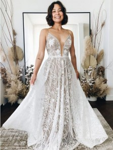 Bohemian V Neck Spaghetti Straps Lace Wedding Dresses, Beach Wedding Dresses