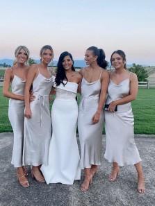 Fashion Popular Cowl Neck Spaghetti Straps Silver Silk Satin Bridesmaid Dresses with Slender Belt