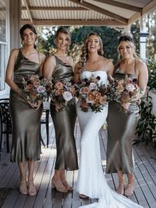 Chic Sheath One Shoulder Olive Green Spaghetti Straps Silk Satin Bridesmaid Dresses Under 100 BD21072702