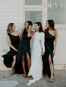 2021 Chic One Shoulder Black Silk Satin Bridesmaid Dresses with Split