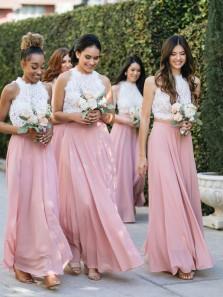 Elegant Halter Two Piece White Lace Top Blush Chiffon Bridesmaid dresses