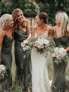 Olive Green V Neck Spaghetti Straps Silk Satin Long Bridesmaid Dresses for Autumn Wedding Party BD21081302