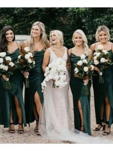 Elegant Cowl Neck Dark Green Silk Satin Long Bridesmaid Dresses Under 100 BD21081301