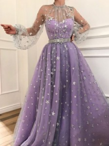 Gorgeous Ball Gown Sparkly Star Tulle Light Purple Prom Dresses with Silver Belt