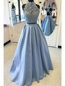 A Line Light Blue Halter Two Piece Prom Dresses,Applique Formal Evening Dresses