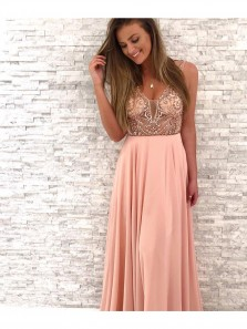 Gorgeous A Line V-Neck Open Back Pink Chiffon Long Prom Dress with Beading, Formal Evening Party Dresses HC0098