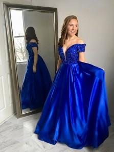 A-LineOff the Shoulder V-Neck Royal Blue Long Prom Dress