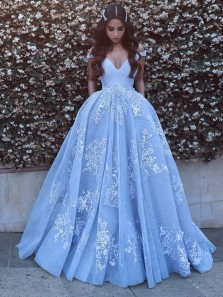 Glamorous Spaghetti Straps Lace Blue Wedding Dresses Princess With Crystals bridal dresses wedding gowns