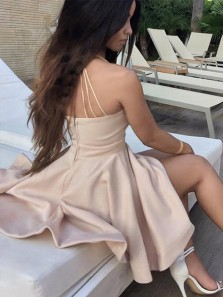 Sexy A Line V Neck Spaghetti Straps Backless Brush Pink Short Homecoming Dress with Pocket, Cute Short Dress Under 100 HD0714001