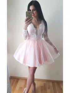Pale Pink Homecoming Dress,Light Pink Short Prom Dress,Long Sleeves Pink Lace Homecoming Gow