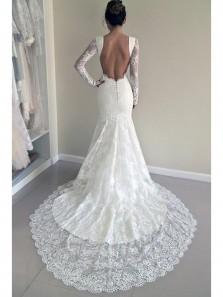Elegant Lace Long Sleeves Mermaid White Long Wedding Dress with Train