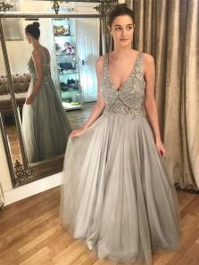 Luxurious V Neck Beaded Grey Tulle Long Prom Dress, Evening Formal Dresses
