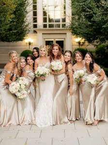 Charming Sheath Off the Shoulder Ruffled Neck Light Champagne Long Bridesmaid Dresses