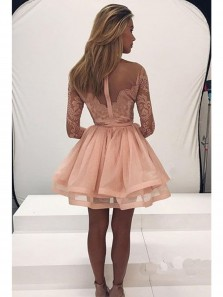 Cute Long Sleeve Blush Pink Lace Homecoming Dress Tulle Zipper Back Party Dress