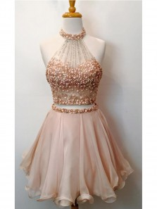 Cute Halter Two Piece Homecoming Dresses,Beaded Bodice Short Prom Dresses,Sparkly Cocktail Dresses