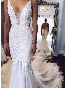 2018 Popular Appliques Elegant Tulle Mermaid Open Back Wedding Dress,Deep-V-Neck Lace Wedding Dress