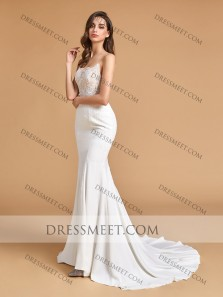Charming Mermaid V Neck Open Back Ivory Lace Wedding Dresses with Train