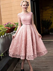 Cute A Line Round Neck Open Back Pink Lace Tea Length Homecoming Dresses, Elegant Prom Dresses HC0061