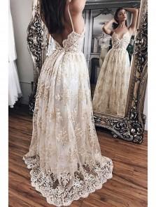 Modest A Line V Neck Lace Evening Dress,Luxurious Lace Long Prom Dress PM0016