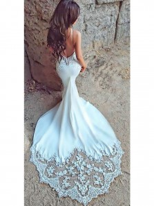 Fashion Charming Sexy Mermaid Open Back Sweetheart White Lace Beach Wedding Dress with Applique