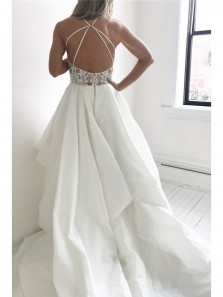 2018 Fashion Elegant Straps Ivory Long Wedding Dress with Lace Top