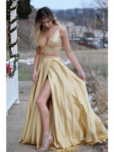 Gorgeous Two Piece Gold Long Prom Dress with Beading,Sexy High Slit Side Evening Dress