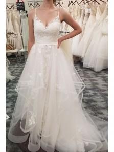 Elegant A Line Straps V Neck White Lace Long Wedding Dress