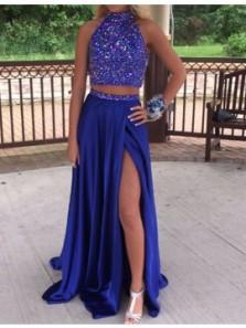 Gorgeous Two Piece Halter Split Long Royal Blue Beading Long Prom Dresses, Elegant Evening Dresses PD1121002