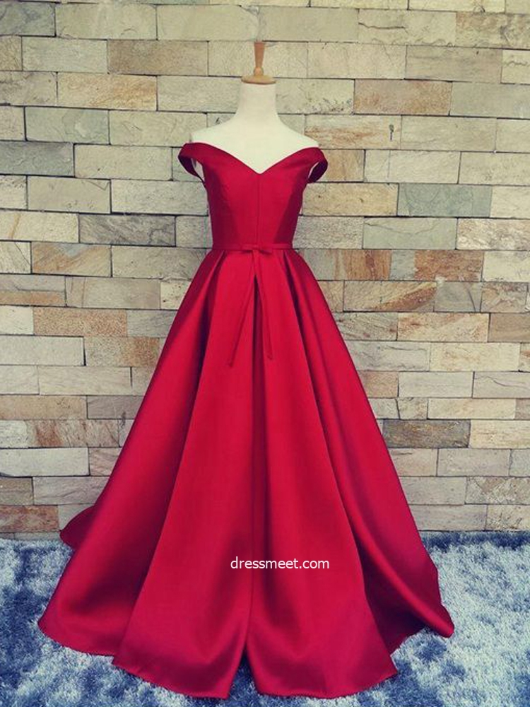 Gorgeous Off the Shoulder Ball Gown Red Satin Long Prom Dresses with Pockets