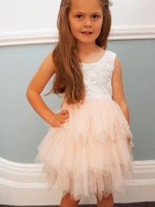 Adorable A-line Knee length Pink Flower Tulle & Lace Flower Girl Dresses FD003