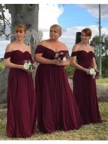Elegant Off the Shoulder Chiffon Burgundy Long Bridesmaid Dresses,Plus Size Bridesmaid Gown Custom