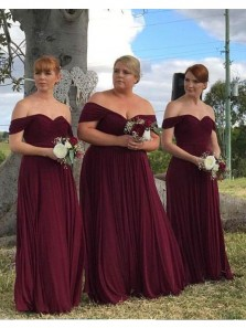 Elegant Off the Shoulder Chiffon Burgundy Long Bridesmaid Dresses,Plus Size Bridesmaid Gown Custom