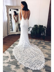 Cheap V Neck Mermaid White Lace Long Wedding Dress Court Train