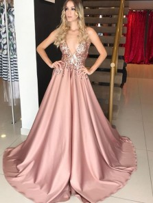 Modest A-Line V Neck Open Back Blush Satin Long Prom Dresses with Sequins,Formal Party Dresses