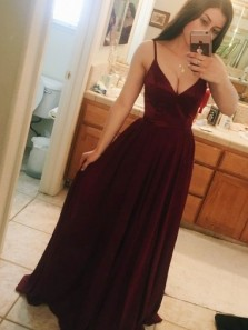 Gorgeous A-Line Spaghetti Straps Sweep Train Burgundy Chiffon Sleeveless Prom Dresses, Formal Evening Party Dresses 3455408