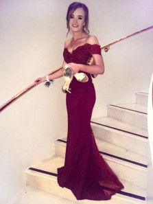 Mermaid Off-the-Shoulder Long Burgundy Elastic Satin Bridesmaid Dresses /Prom Dresses with Lace Top 3554001