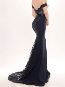 Mermaid Off-the-Shoulder Sweep Train Black Stretch Satin Prom Dress with Appliques Lace 3554002