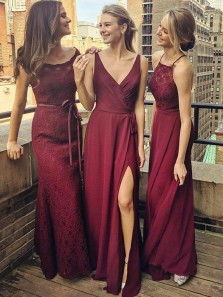 A-Line V-Neck Floor-Length Grape Chiffon Bridesmaid Dress wtih Split 3554007