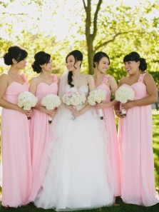 Fabulous One-shoulder Long Chiffon Bridesmaid Dress with Handmade Flowers