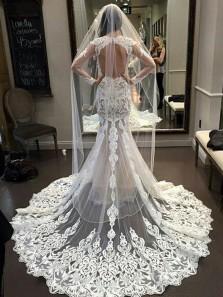 Latest Gorgeous Long Sleeves Open Back Mermaid Long Lace Wedding Dress