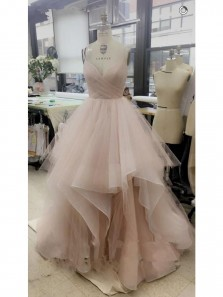 Tulle V Neck Spaghetti Straps Floor Length Ruffled Prom Dresses, Long Quinceanera Dresses