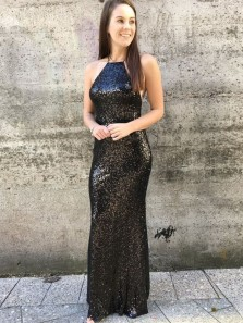 Gorgeous Mermaid Spaghetti Straps Black Sequined Backless Prom Dresses, Formal Evening Party Dresses 3655404