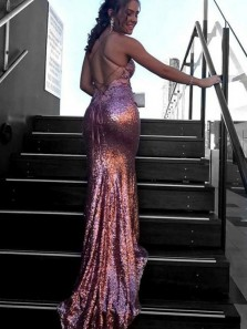 Charming Mermaid Deep V-Neck Criss-Cross Straps Sweep Train Pink Sequines Prom Dresses, Gorgeous Long Evening Party Dresses 3655409