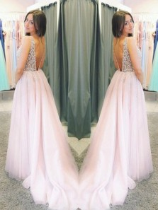 Elegant Sparkly Tulle Pink A Line V-neck Pom Dresses With Rhinestones