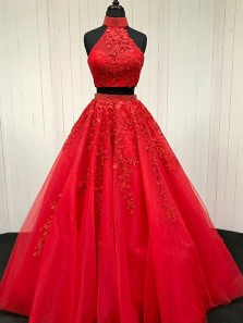 Two Piece High Neck Sweep Train Red Tulle Prom Dress with Appliques Beading